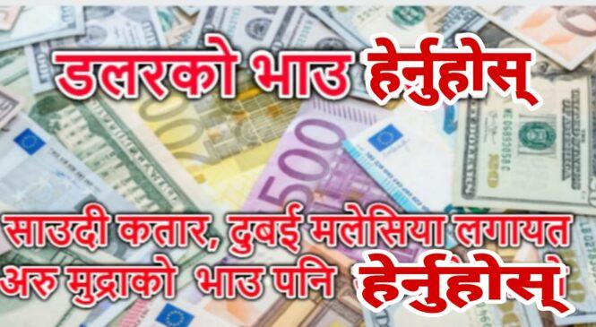 आज डलर सहित अन्य देशको मुद्राको भाउ यस्तो छ : (तालिका सहित)