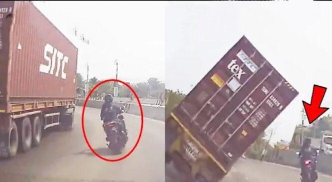 सडकमा गुड्दै गरेको ट्रक बाईकतिर पल्टियो, क्यामरमा रेकर्ड भयो लाईभ भिडियो (भिडियो सहित)